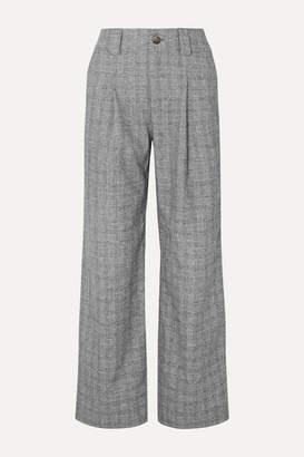 Ganni Checked Bouclé Straight-leg Pants - Gray