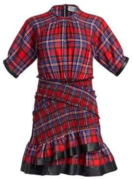 Tanya Taylor Nicole Plaid Ruffled Mini Dress