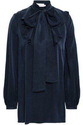 Zimmermann Pussy-bow Ruffled Washed-silk Blouse