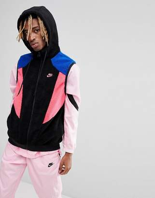 Nike Vaporwave Reversible Hooded Singlet In Polar Fleece In Black Aj2691-010