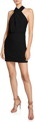 Halston Sleeveless Wrap-Neck Fitted Mini Dress