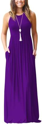 BEIGE WO-STAR Women's Round Neck Loose Sleeveless Pleated Maxi Dress With Pockets Navy Blue L