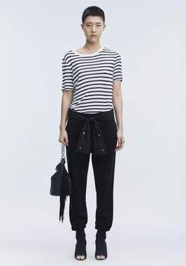 Alexander Wang Cropped Stripe Linen Short Sleeve Tee