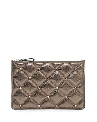 Valentino Candystud Medium Flat Metallic Leather Pouch Bag
