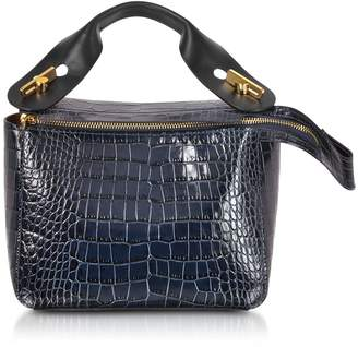 Sophie Hulme Blue Canard Croco-embossed Leather Bolt Small Saddle Bag