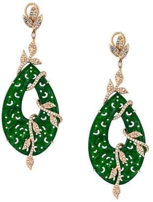 Gemco 18kt gold carved jade drop diamond earrings