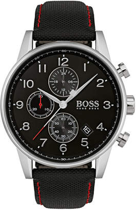 BOSS Hugo Men's Chronograph Navigator Black Fabric Strap Watch 44mm