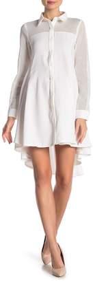 Gracia Mesh Hi-Low Shirt Dress