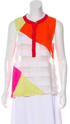 Chris Benz Silk-Paneled Colorblock Top