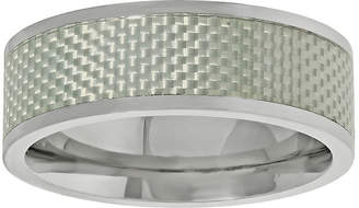 FINE JEWELRY Mens Titanium Band Ring with Silver Carbon Fiber Inlay