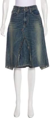 6397 Distressed Knee-Length Denim Skirt
