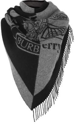 Burberry Fringed Two-tone Intarsia Wool And Cashmere-blend Scarf