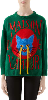 Gucci Cat-Patch Wool Sweater