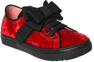 Velvet Sneakers W/ Bows