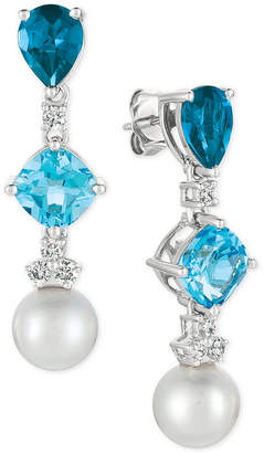 LeVian Le Vian® Blue Topaz (3-9/10 ct. t.w.), White Cultured Freshwater Pearl (9mm) and Diamond (1/3 ct. t.w.) Drop Earrings in 14k White Gold