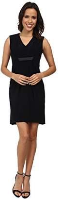 London Times Women's Sleeveless V-Neck Solid Draped Front Dress