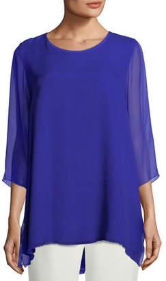 Caroline Rose Silk Chiffon Combo Tunic, Plus Size