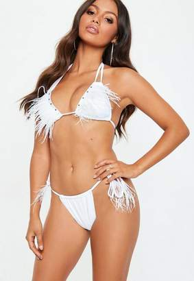 Missguided Premuim Feather Jewel Minimal Bikini Set