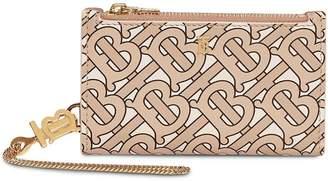 Burberry Monogram Motif Leather Wallet with Detachable Strap