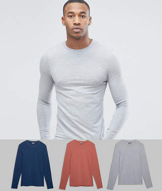 Asos Design DESIGN extreme muscle fit long sleeve t-shirt 3 pack MULTIPACK SAVING