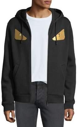 Fendi Men's Gold Bugs Zip-Front Hoodie Sweatshirt