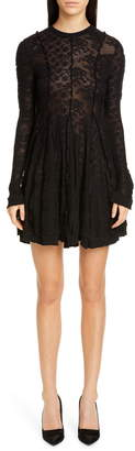 Stella McCartney Long Sleeve Linear Lace Skater Dress