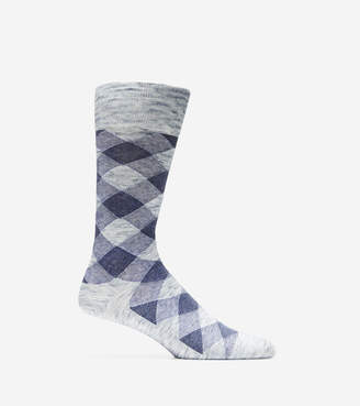 Cole Haan Cotton Twist Plaid Crew Socks