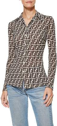 Fendi Brown Zucca Button Front Top