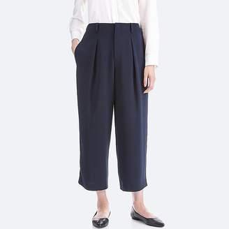UNIQLO Women's Drape Wide-leg Ankle-length Pants $39.90 thestylecure.com
