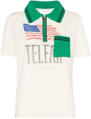 Telfar flag print polo shirt