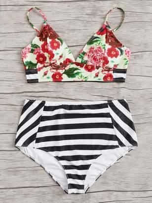 Shein Plus Floral Seam Top With Striped Bikini