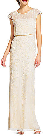 Adrianna Papell Adrianna Papell Cap-Sleeve Beaded Column Gown