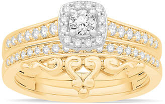 Macy's Diamond Two-Tone Halo Bridal Set (1/2 ct. t.w.) in 14k Gold and White Gold