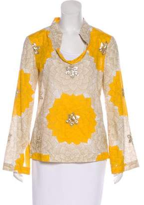 Tory Burch Printed Sequin Blouse