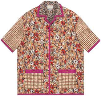 Gucci Oversize printed quilted bowling shirt