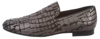 Jimmy Choo Metallic Distressed Leather Smoking Slippers