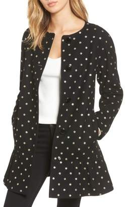 KATE SPADE NEW YORK glitter dot wool blend coat