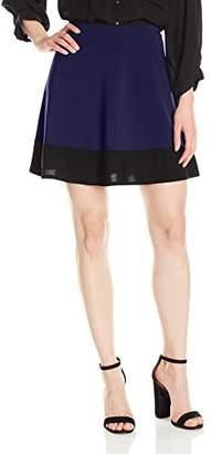 Star Vixen Women's Plus-Size Stretch Ity Colorblock Hem Swingy Full Skater Skirt