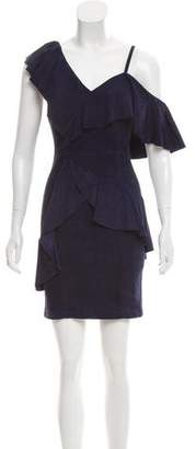 Alice + Olivia Ruffle-Trimmed Suede Dress
