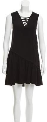 Opening Ceremony Lace-Up Pleat-Accented Dress Black Lace-Up Pleat-Accented Dress