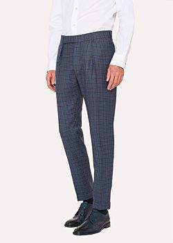 Men's Tapered-Fit Two-Tone Check Wool Trousers