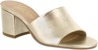 Bella Vita Peep Toe Leather Slide Sandals - Mel