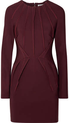 Thierry Mugler Pintucked Stretch-cady Mini Dress - Burgundy