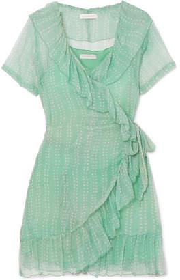 Cloe Cassandro - Kimi Printed Silk-crepon Wrap Mini Dress - Mint