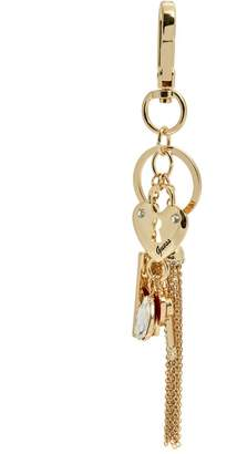 Factory GUESS Women's Gold-Tone Heart Charm Keychain