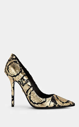 Versace Women's Floral-Print Metallic Leather Pumps - Black
