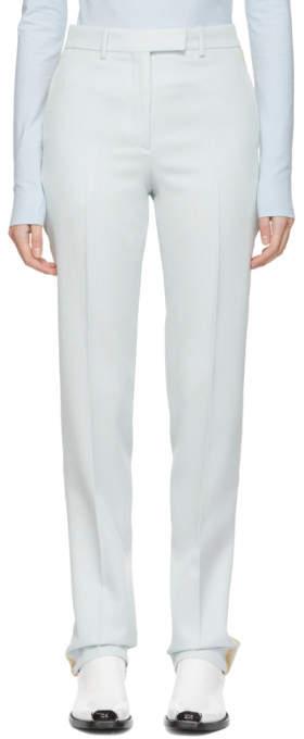 Blue Silk Stripe Trousers
