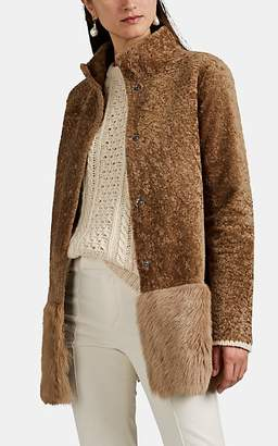 Barneys New York Women's Shearling Peplum Coat - Lt. brown