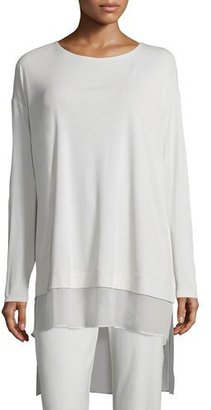 Eileen Fisher Long-Sleeve Layered Silk Tunic $248 thestylecure.com