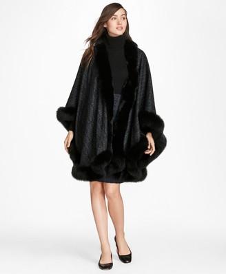 Brooks Brothers Scroll-Print Fox-Fur-Trimmed Cashmere Ruana